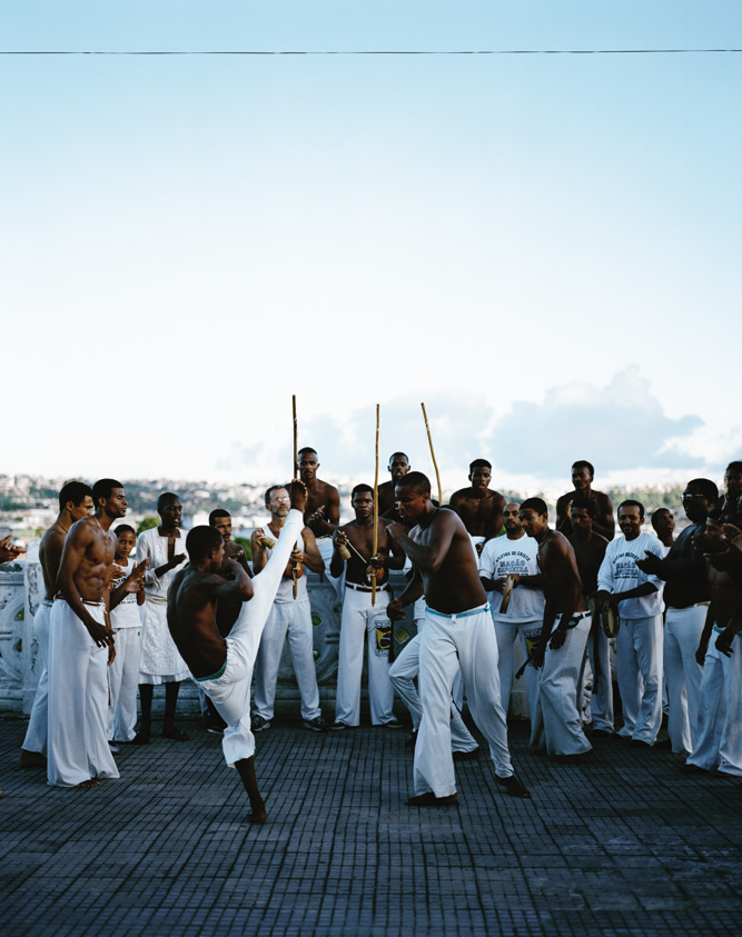 Brazilian Whacks: A group of men in Salvador, northeastern Brazil, practicing capoeira, a martial art that combines elements of dance and music.