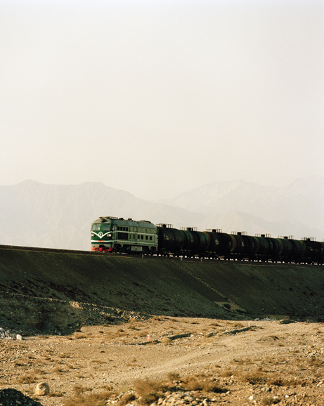 A freight train crossing the desert from Jiuquan, following the route of the old Silk Road.