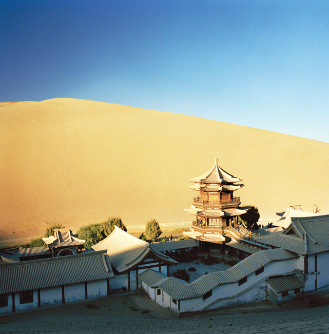 The teahouse complex at Yueyaquan, or Crescent Spring, a scenic oasis in the shadow of the Mingsha sand dunes south of town.