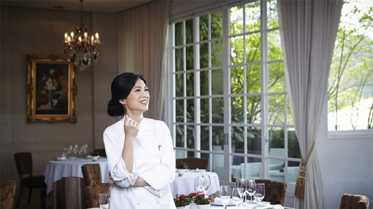 Lanshu Chen in the dining room at Le Mout.