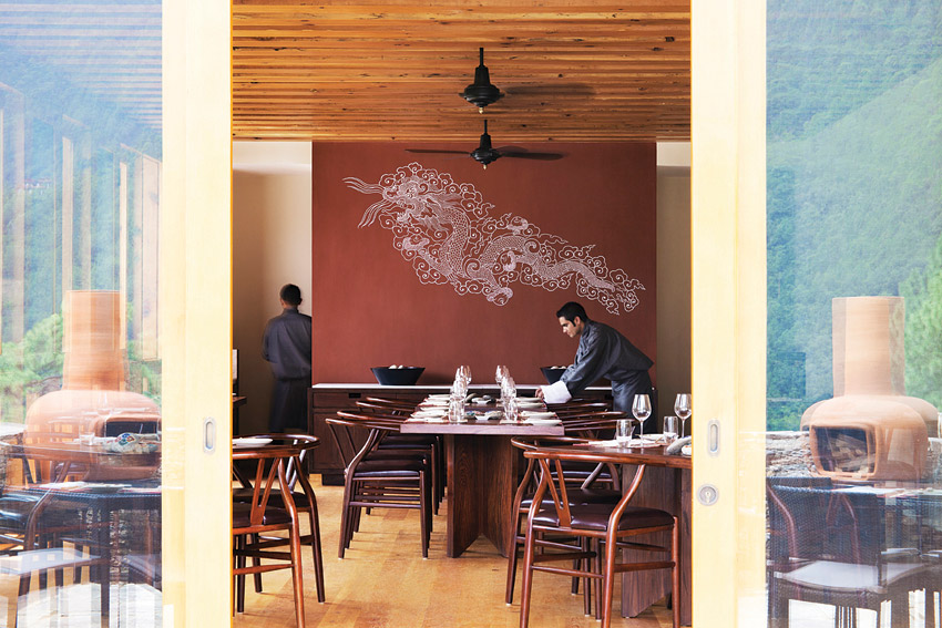 Bhutanese and international cuisine can be found at the resort's Bukhari restaurant.