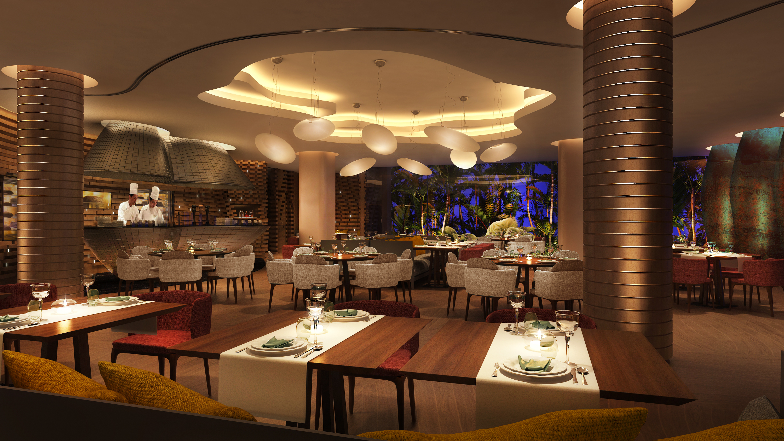 Lush, modern designs at the newly-opened Hilton Singapore's Opus Bar and Grill.