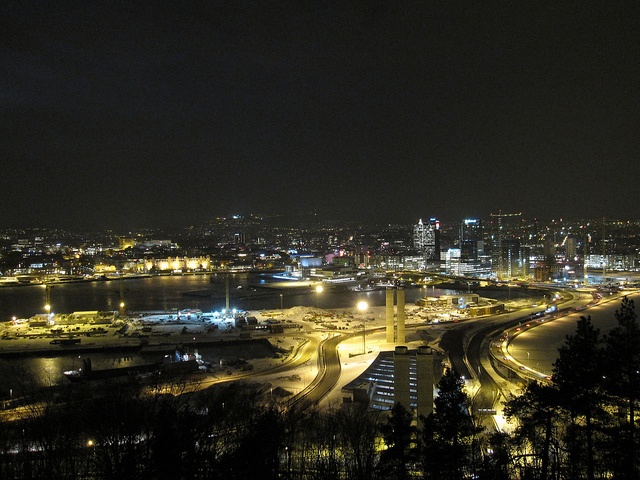 Oslo, the most expensive city in the world, by night. Photo by Bernt Rostad