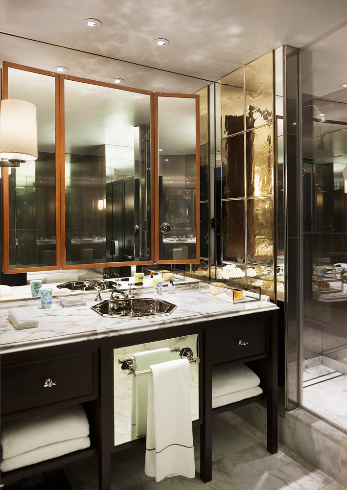 Finely decorated Italian marble bathrooms at the Rosewood London.