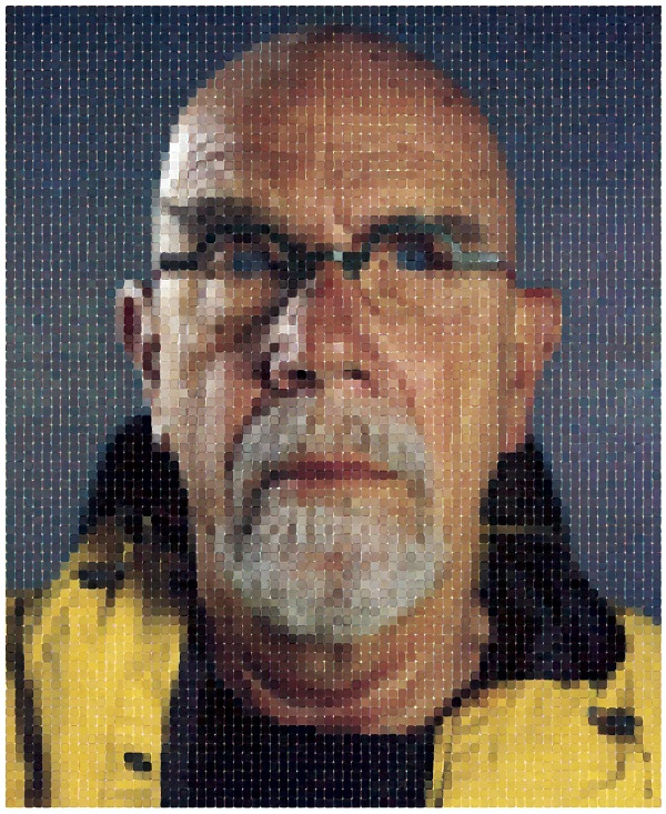 Chuck Close, Self-Portrait (Yellow Raincoat), 2013, photograph courtesy Magnolia Editions, Oakland and Pace Gallery