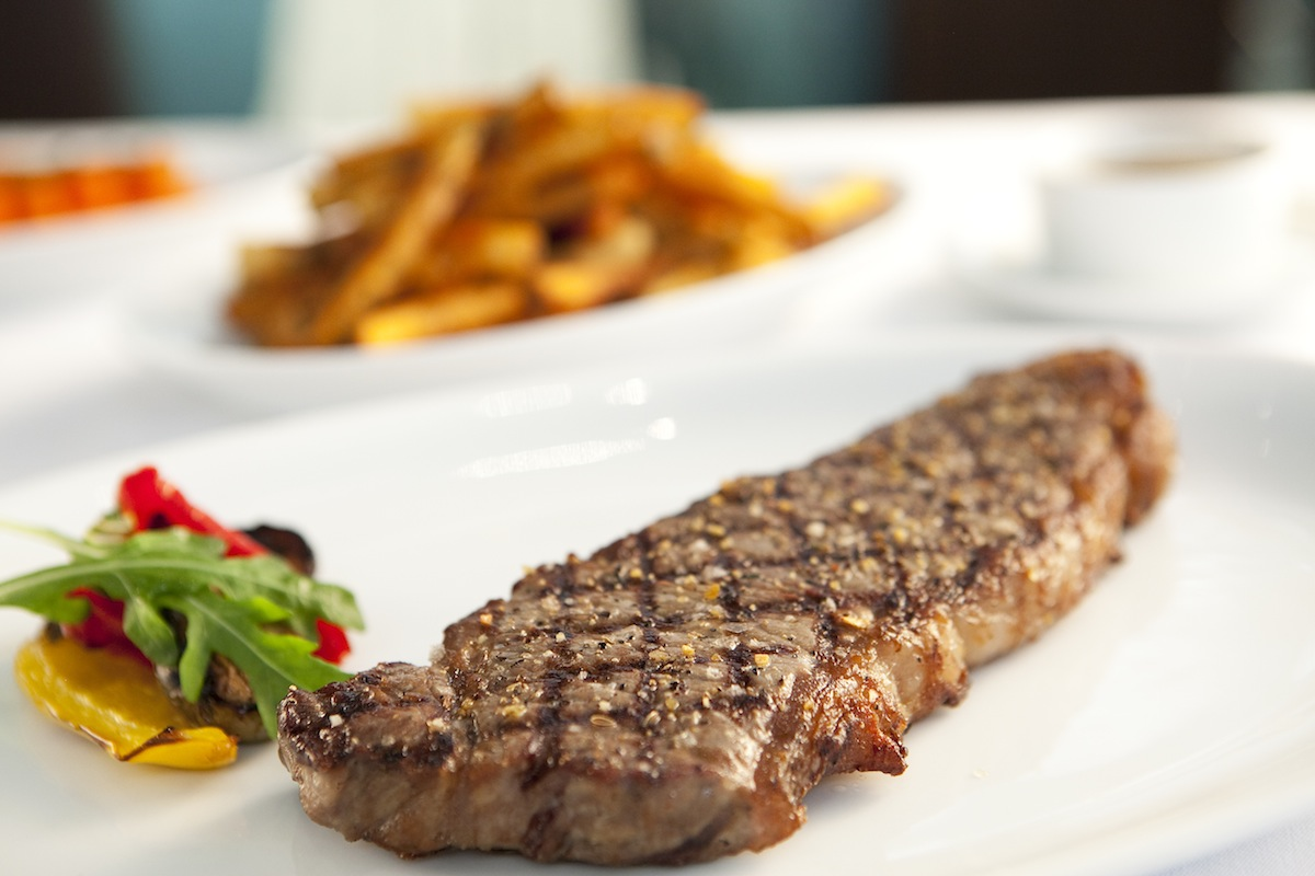 The New York Grill & Bar's sirloin steak with crispy duck fat potato fries.