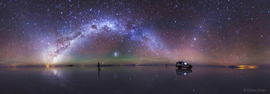 'Strolls in the Star River' by Caren Zhao of China (weibo.com/u/2250248783). The arc of the southern Milky Way and the zodiacal light above Salar de Uyuni, the world's largest salt flat, in Bolivia. Photographed in February 2015. The 5th winner in the Beauty of the Night Sky category.