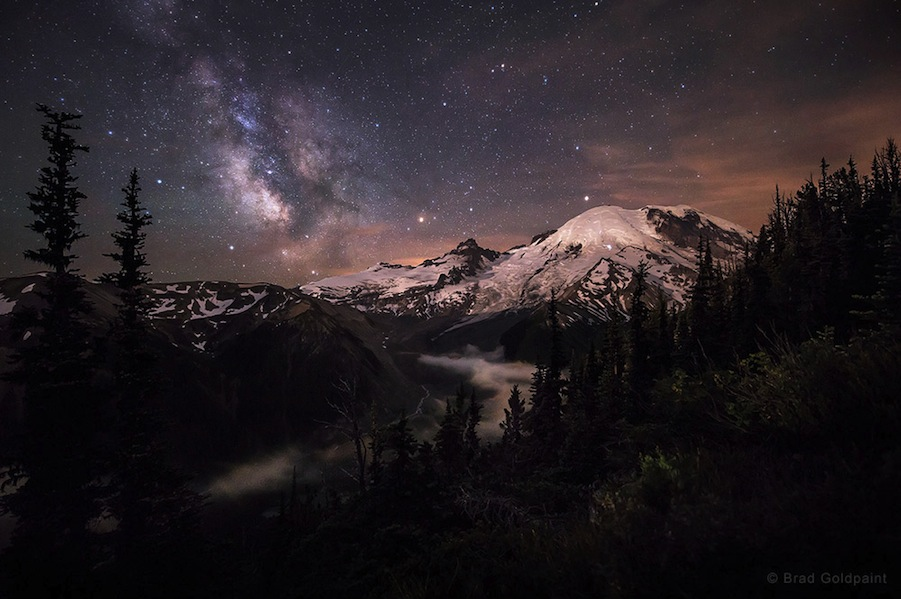 'Moonlit Darklings' by Brad Goldpaint (www.goldpaintphotography.com). The moonlight strikes Mt. Rainier in Washington, northwestern U.S., as the Milky Way drifts across the night sky, July 2014. The 2nd winner in the Beauty of the Night Sky category.