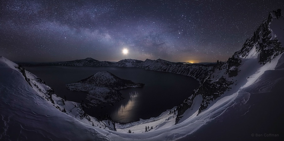 'A Raising of the Hackles' by Ben Coffman (www.bencoffmanphotography.com). On a crystal clear winter morning, the Milky Way and the crescent moon rise above the Crater Lake National Park, Oregon, U.S., February 2015. The 3rd winner in the Beauty of the Night Sky category.
