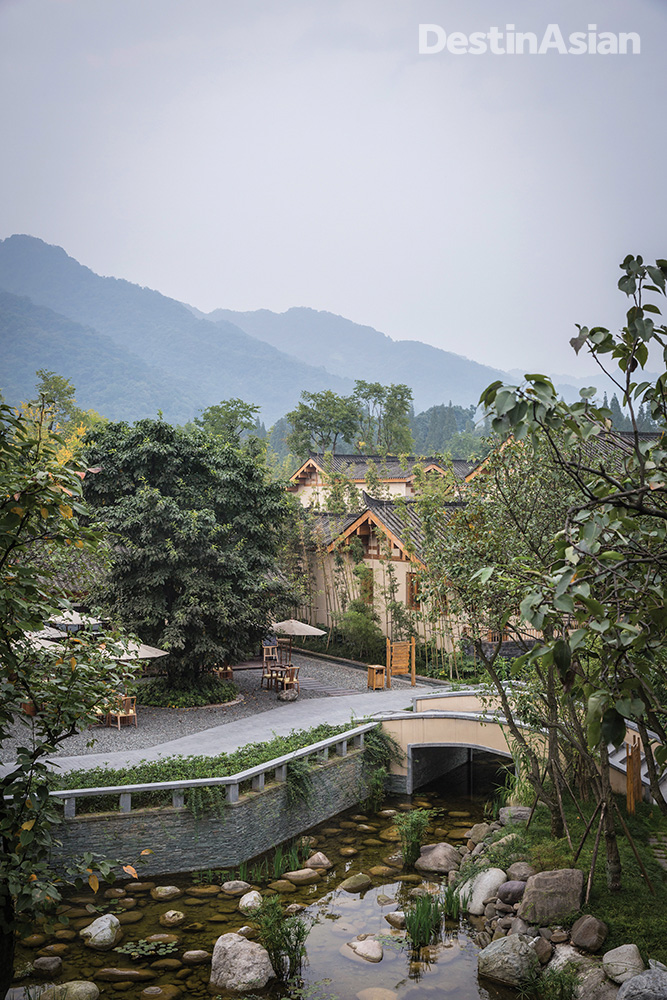 Overlooking the lush surrounds of the Six Senses Qing Cheng Mountain, whose namesake summit is revered as the birthplace of Taoism.