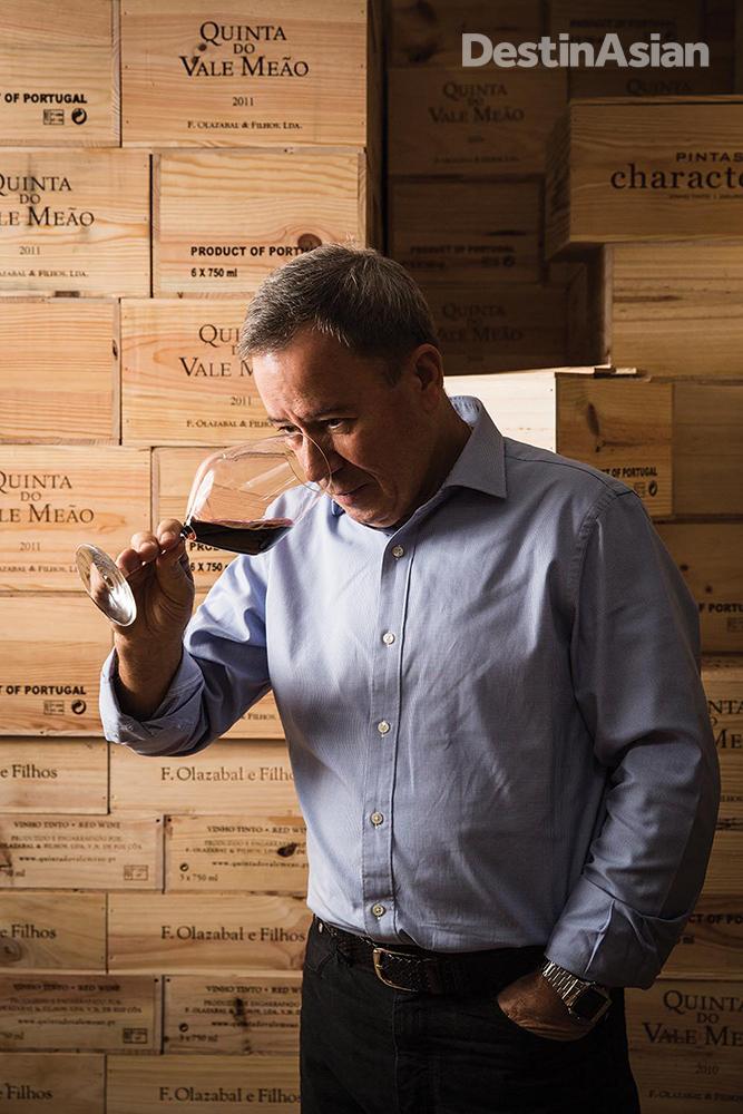 Wine importer Tomas Pimenta at his warehouse on the Macau Peninsula.
