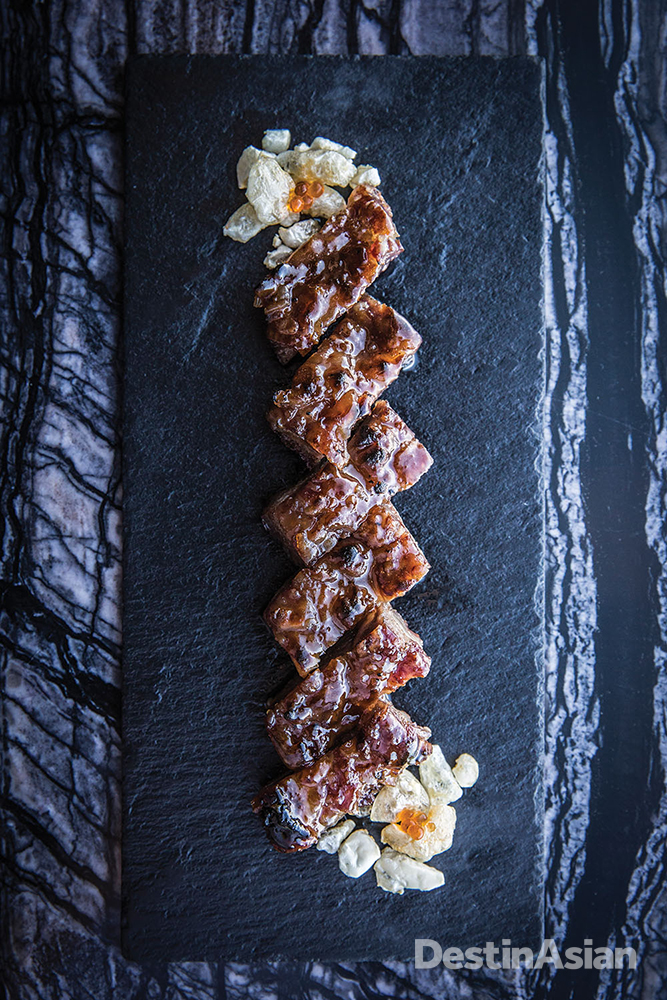 Barbecued Iberian pork at the Ritz-Carlton Macau's Lai Heen restaurant, part of the Galaxy complex in Cotai.
