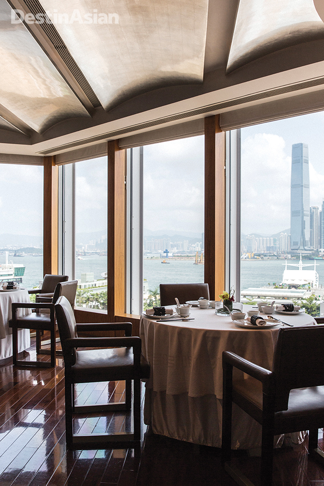 The views from the dining room at Lung King Heen are impressive.