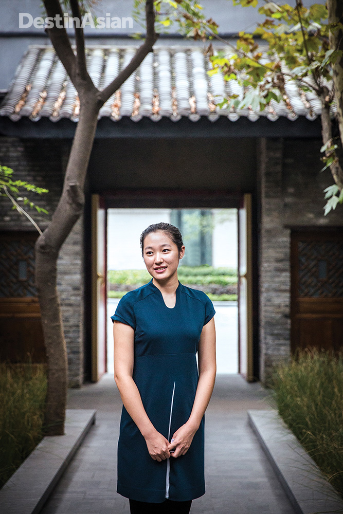A Temple House staffer outside the hotel's reception area.