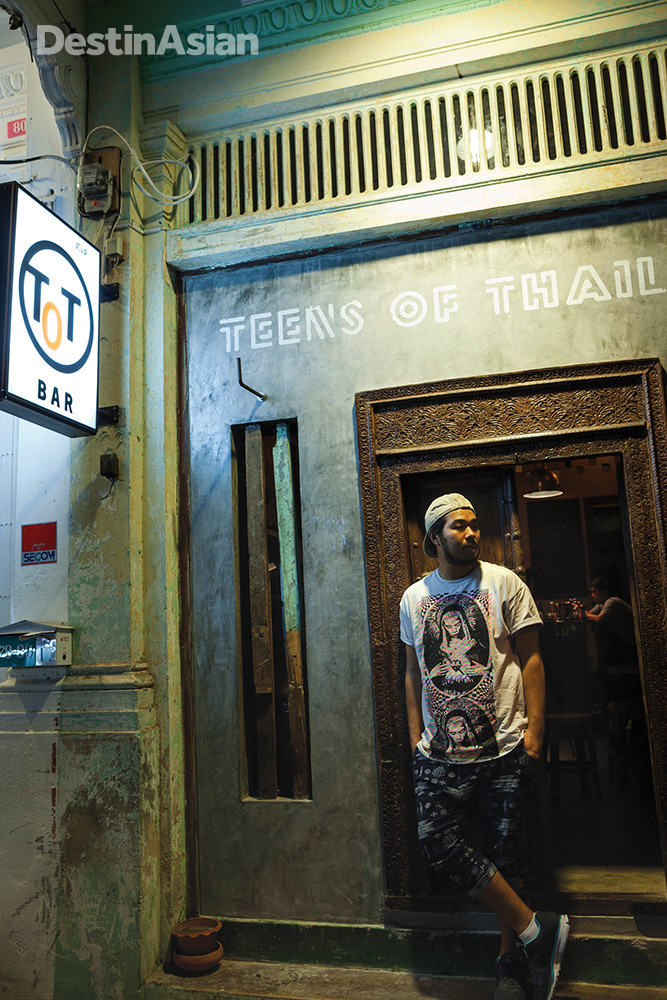 The entrance to Teens of Thailand, a new gin-centric bar furnished with vintage Thai furniture.