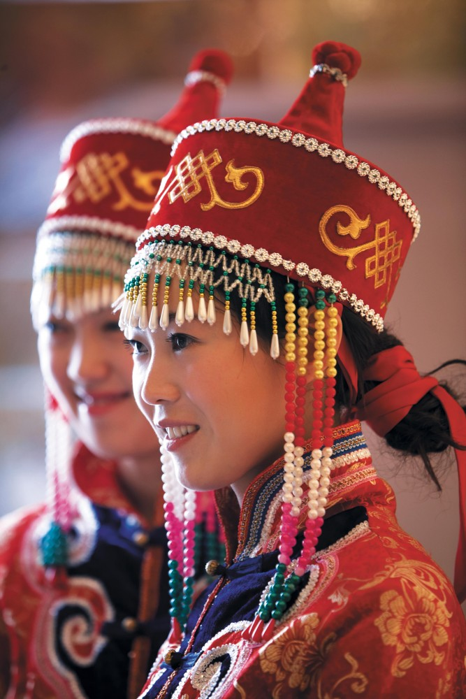Staff in traditional Mongol dress at the Shangri-La Hotel Huhhot.