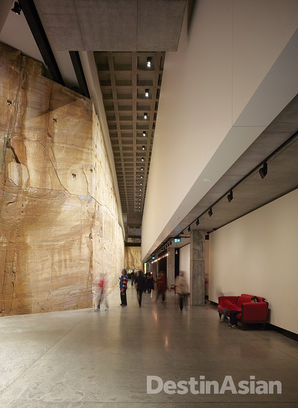 An underground corridor at the Museum of Old and New Art (MONA), which is carved inot Triassic sandstone cliffs along the Derwent River.