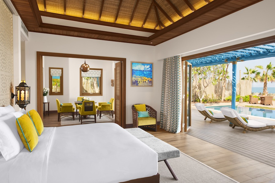 Bedside to poolside at the two-bedroom pool villa.