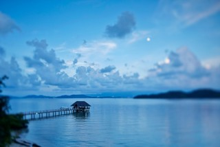 The jetty at Gaya Island Resort, with the Sabah mainland in the distance.
