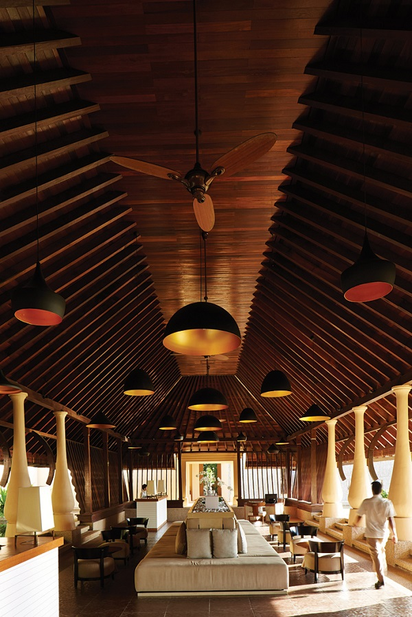 The resort's longhouse-style lobby