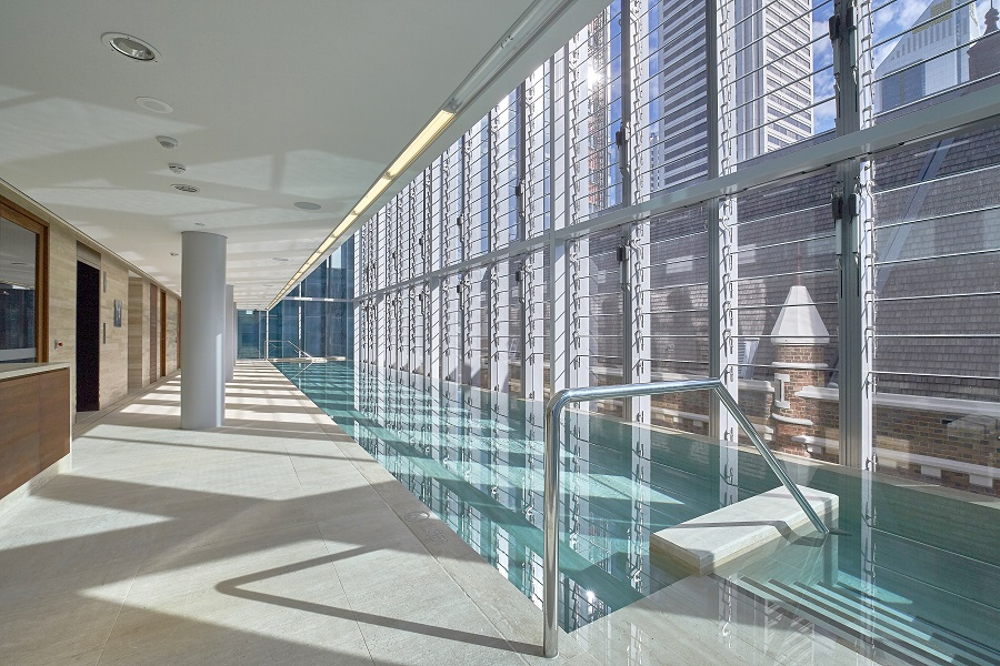 The hotel's heated indoor pool.