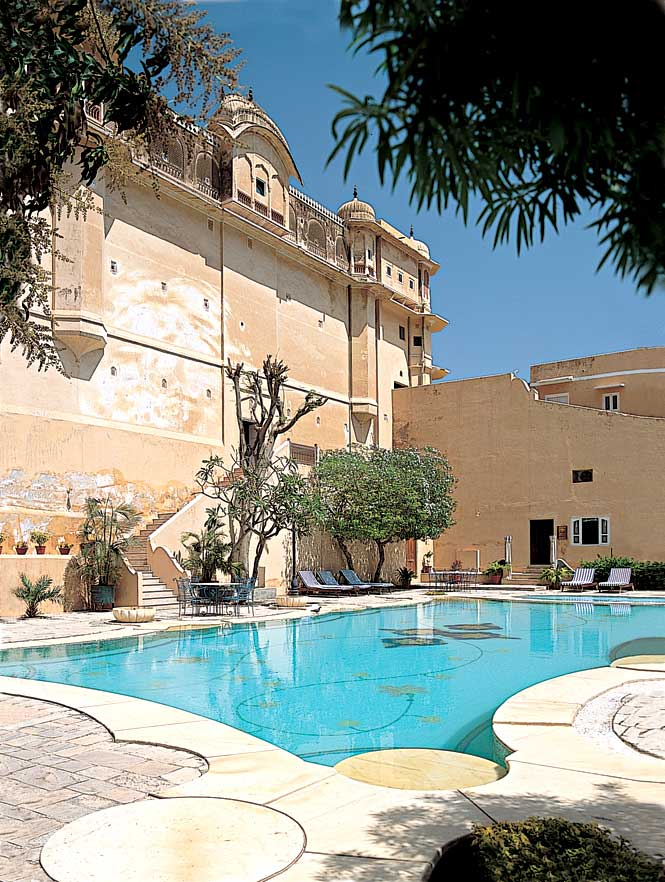 The 400-year-old Samode Palace is a vast confection of courtyards, parapets, and ornate halls an hour's drive north of Jaipur.