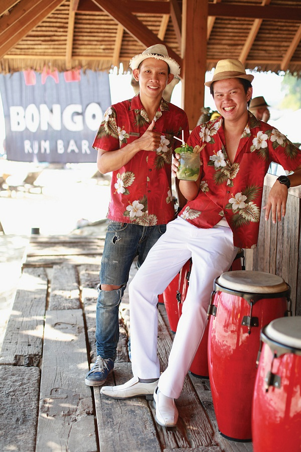 Bartenders at the Bongo Rum Bar on Surin Beach.