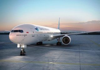 Garuda Indonesia's B777-300ER aircraft, assigned for the carrier's new Jakarta-London Heathrow route.