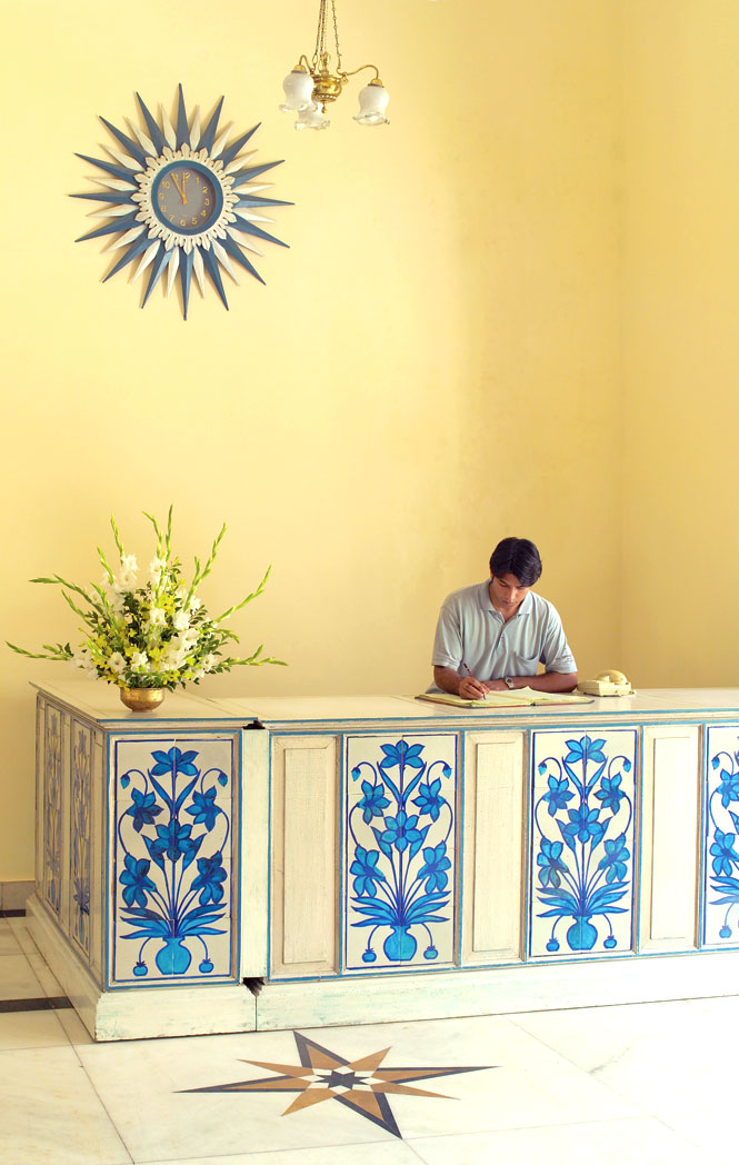 The concierge desk at Rambagh Palace in Jaipur.