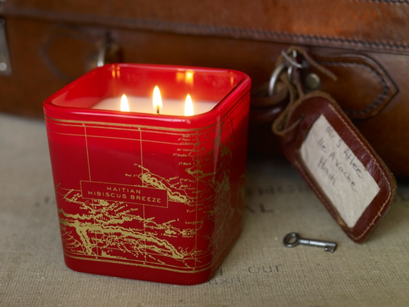Maps drawn by hand onto each candleholder of Be The Light New York candles. Haitian Hibiscus Breeze is pictured here.