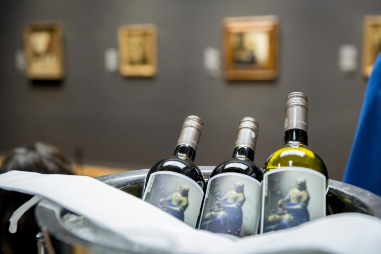 'The Milkmaid' painting on the wines.