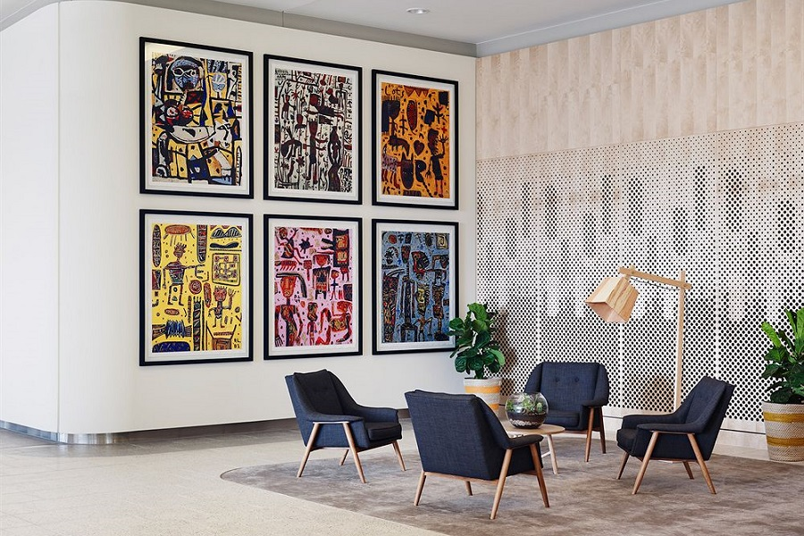 The art-filled hotel is dedicated to artist David Larwill.