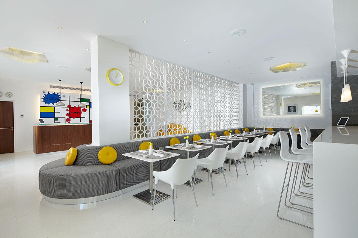 The white latticework of Orbit restaurant.