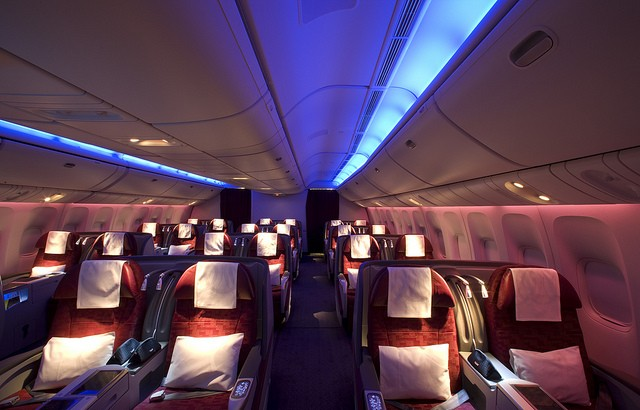 The business class cabin of Qatar's Boeing 777.