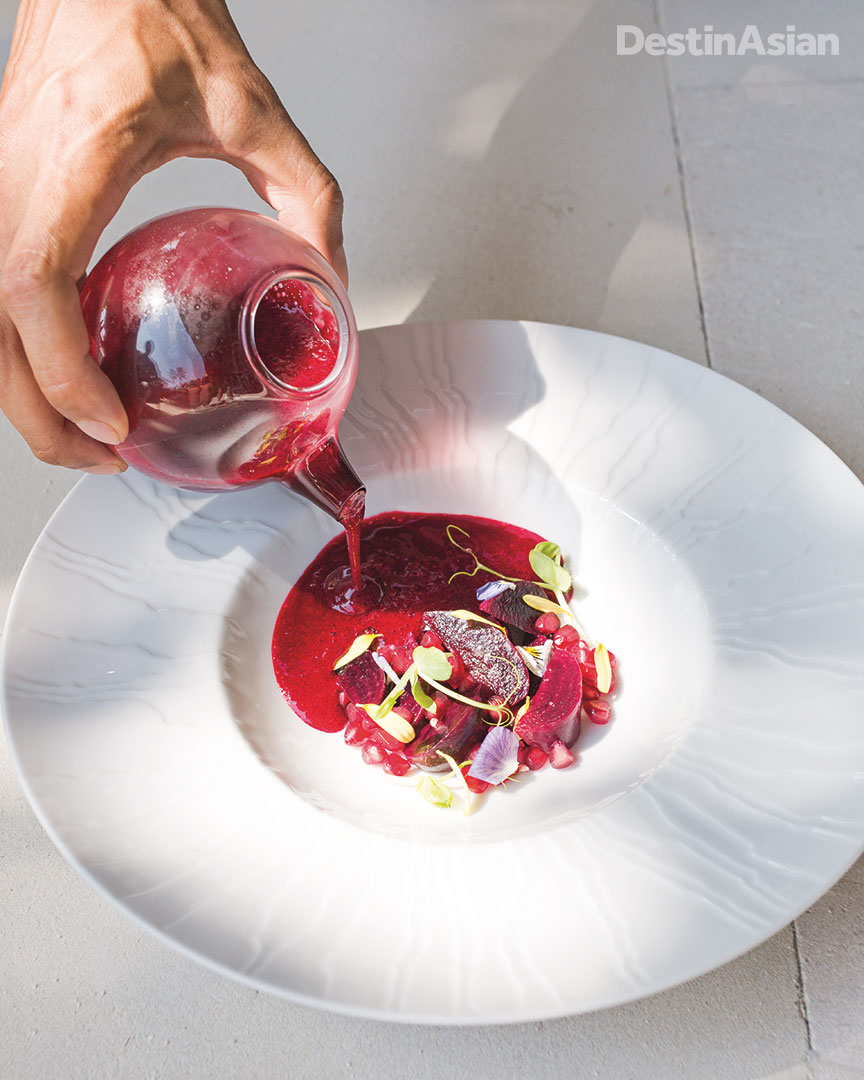 Chilled beetroot, pomegranate, and cranberry soup at Alba, the St. Regis' poolside Italian restaurant.