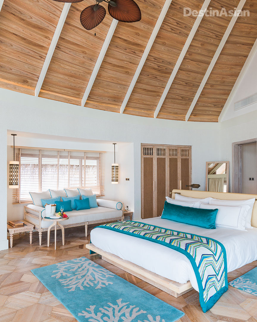 Inside a beach pool villa at Milaidhoo Island.