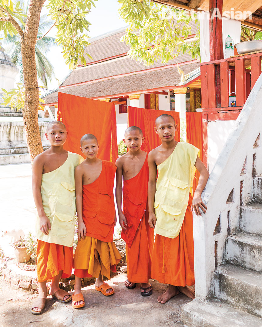 Young monks at Wat Meuanna, a Buddhist temple founded in the 16th century.