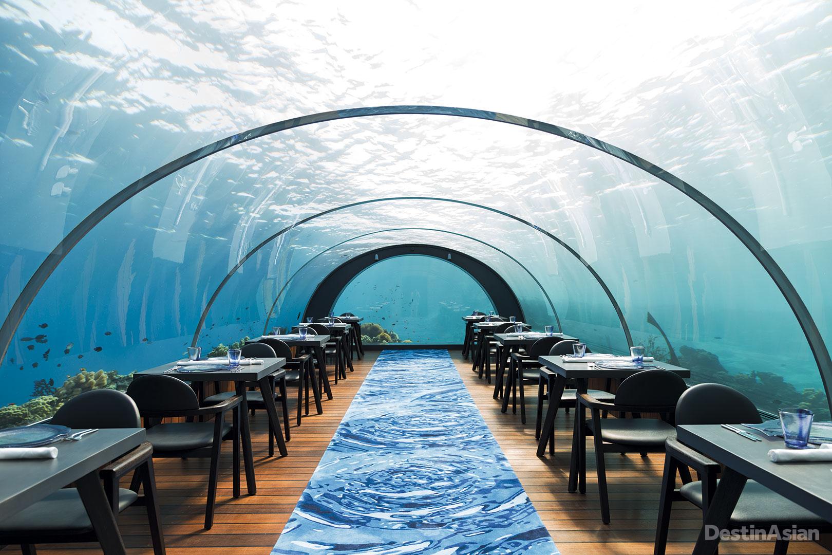 Submerged almost six meters below the waves, Hurawalhi Island Resort's 5.8 bills itself as the world's largest all-glass underwater restaurant.