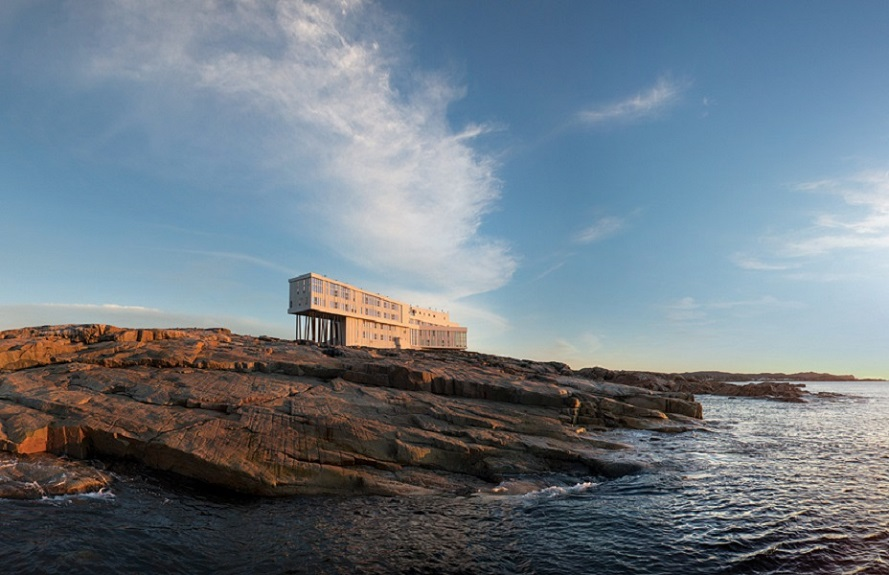 A flight, drive, and ferry are required to reach Fogo Island Inn in Newfoundland.