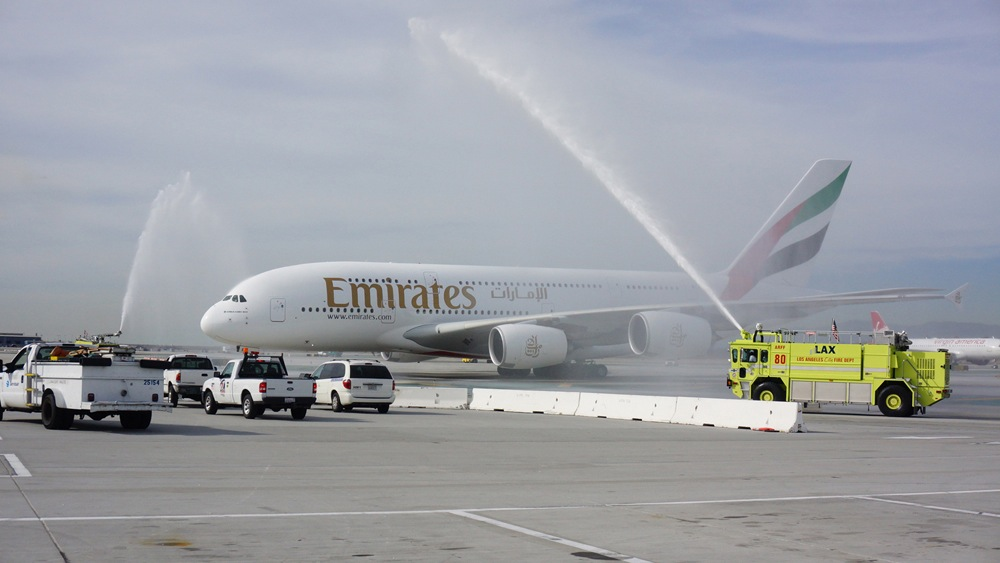 A Water Cannon Salute Welcomes the Emirates' A380 in Los Angeles.