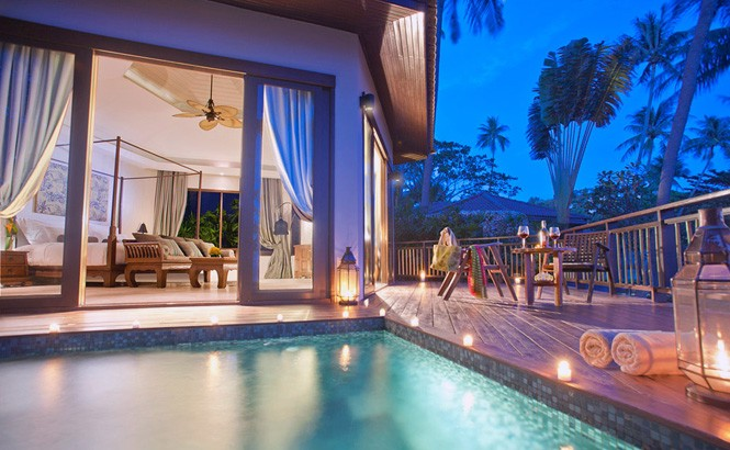 A pool suite at the Akaryn, the first resort to open on Koh Samui's Hanuman Bay.