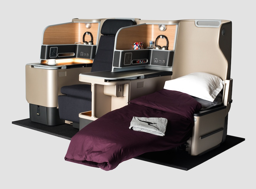 Remain reclined through takeoff and landing with Qantas' new A330 Business Suites.