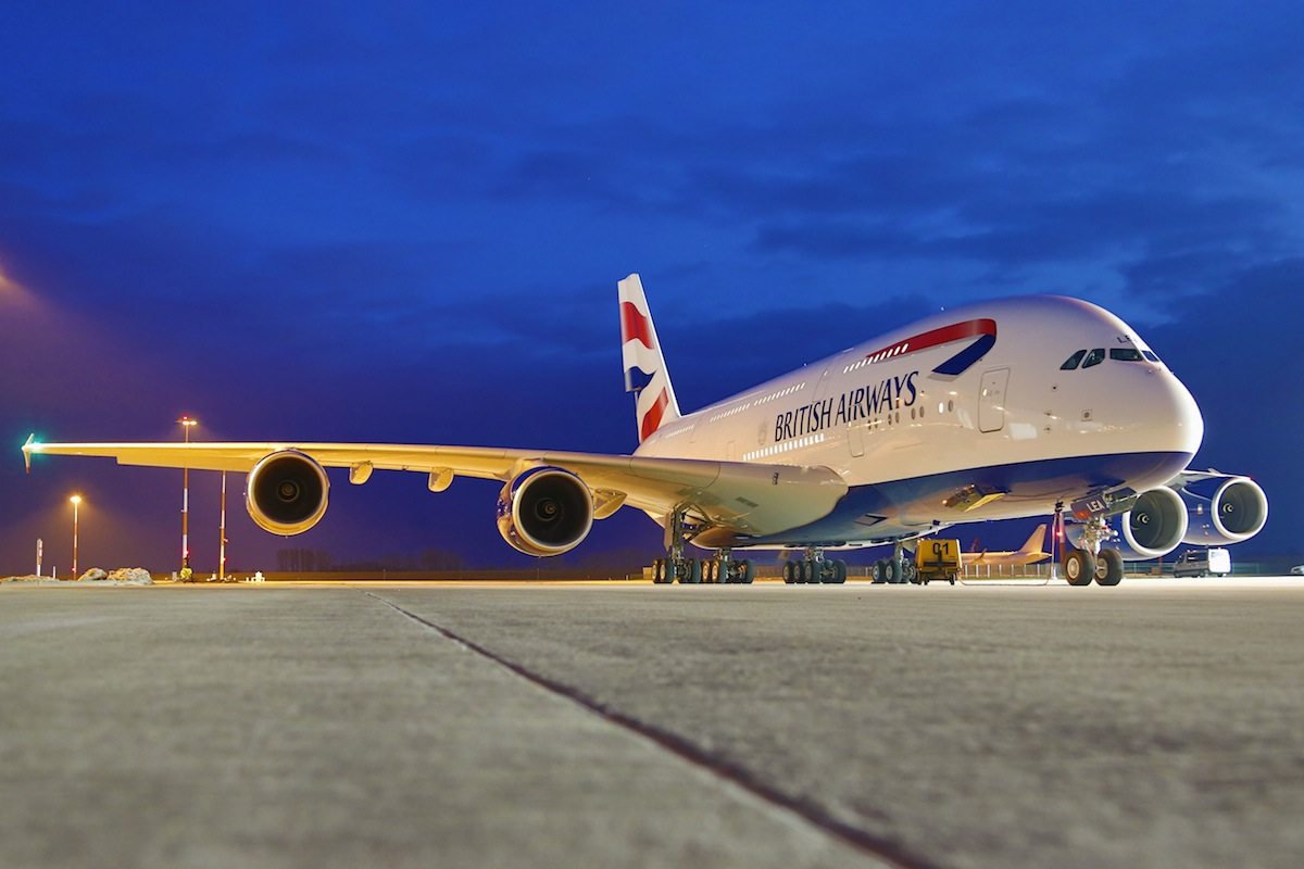 The exterior of the British Airway's A380.