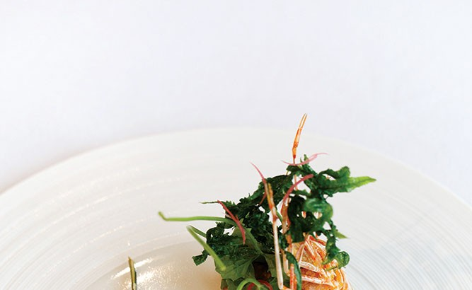 Red prawn and prawn tartare topped with fried prawn head and pegaga greens,