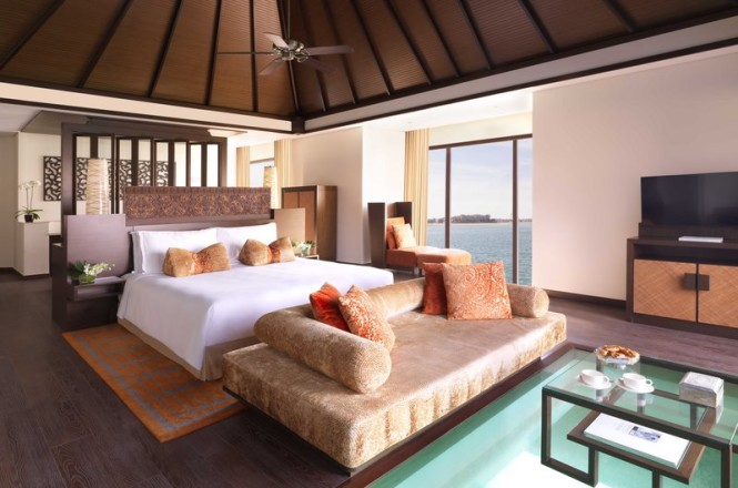 The bedroom inside one of the villas.