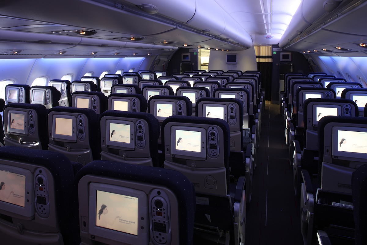 Economy class aboard the Air France A380.