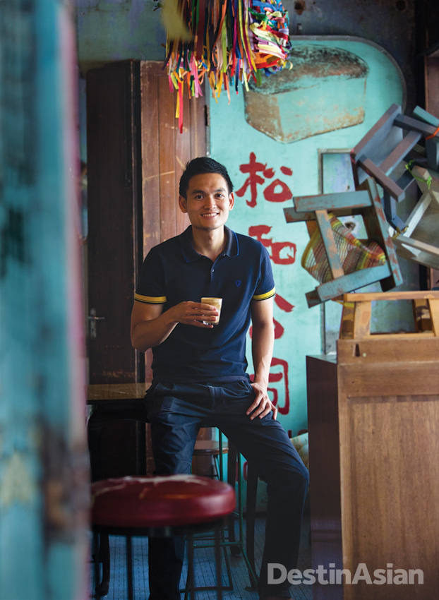 Ipoh-born restaurateur Dexter Song at Burps & Giggles, his cheeky cafe in Kong Heng Square.