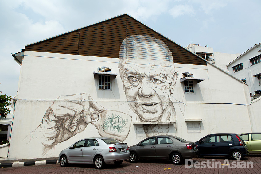 White coffee also appears in this street mural across from Ipoh's central playing field.