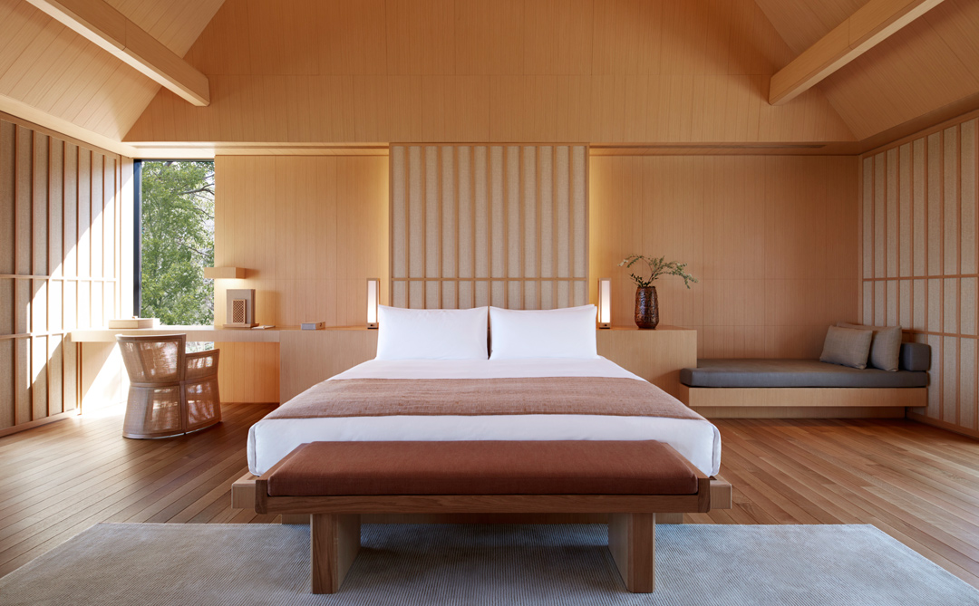 A villa bedroom at Amanemu.