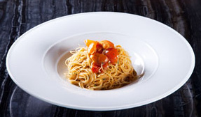 Angel hair pasta with uni.